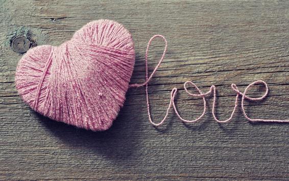 壁紙 ピンクの糸ラブハート