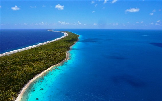 Papéis de Parede Mar, azul, azul, ilha, tropical, praia