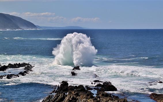 Fond d'écran Mer, rochers, vagues, éclaboussures, paysage naturel