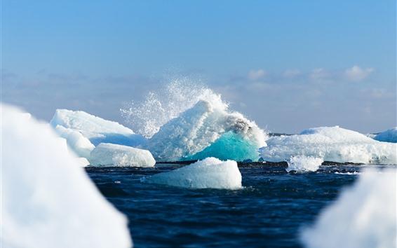 Обои Море, снег, лед, айсберг, всплеск