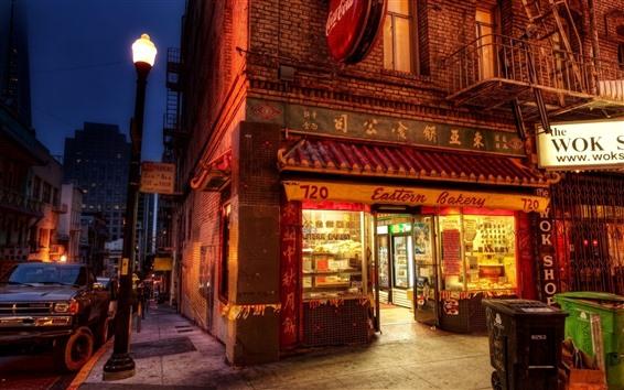 Wallpaper Shop, lights, night, city