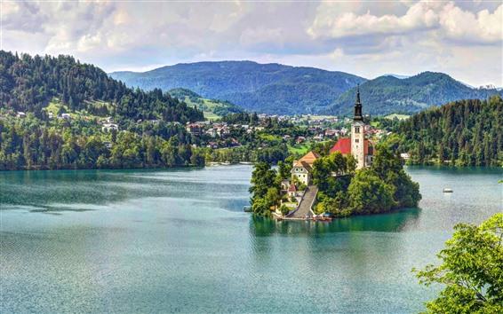 Wallpaper Slovenia, lake, island, church, mountains, clouds