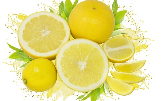 Wallpaper Some lemon slice, fruit, white background