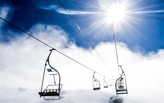 Wallpaper Some lift, iron rope, snow, mountain, sun