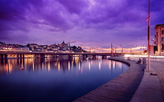 Wallpaper Stockholm, Sweden, river, bridge, lights, night