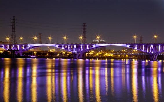 Papéis de Parede Taiwan, Taipei, ponte, rio, luzes, noite