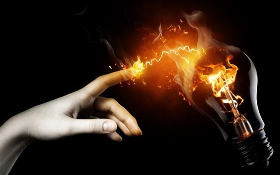 Papéis de Parede Toque, dedo, lâmpada, fogo, imagem criativa