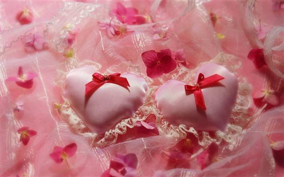 Wallpaper Two love hearts, silk, flowers