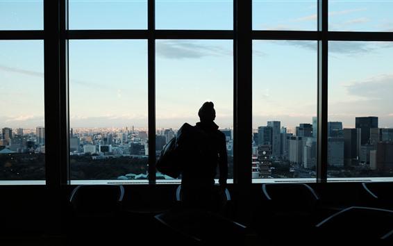 Fondos de pantalla Ventana, hombre, silueta, ciudad