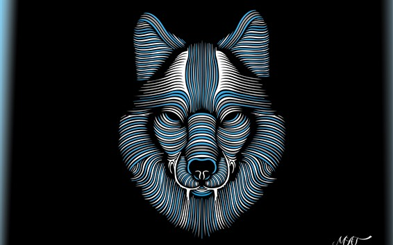 Wallpaper Abstract wolf face, lines, black background, creative picture