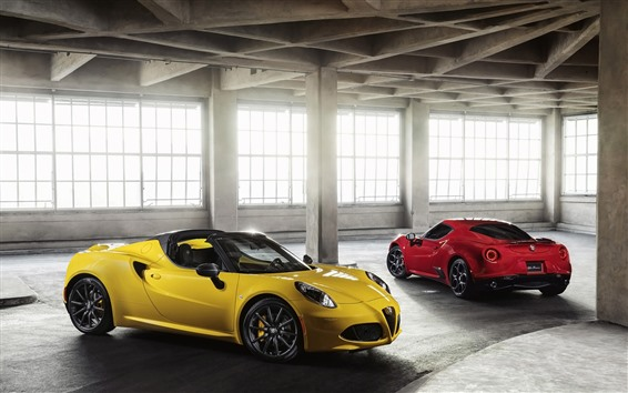 Wallpaper Alfa Romeo red and yellow supercars