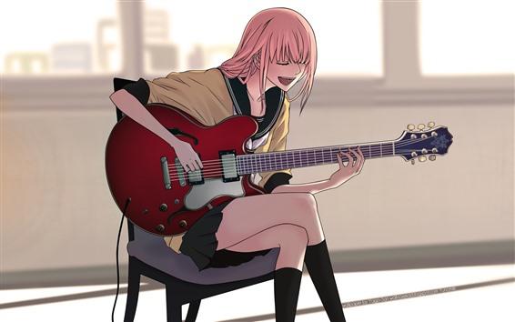 Fond d'écran Anime girl, chanter, guitare
