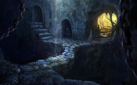 배경 화면 예술 사진, 판타지, 동굴, 폭포, 어둠