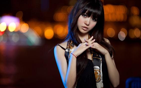 桌布 美麗的亞洲女孩,看,夜晚,城市