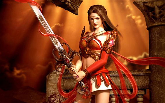 Wallpaper Beautiful fantasy girl, long hair, sword