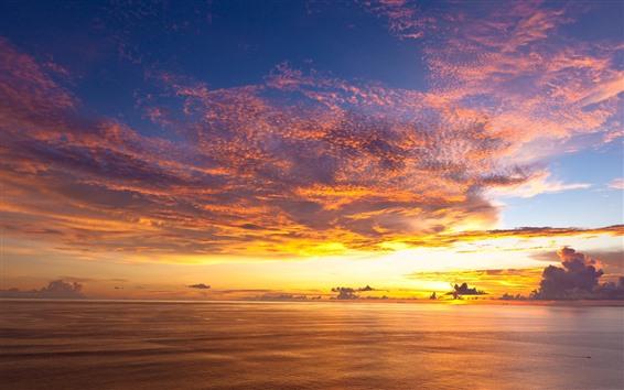 Wallpaper Beautiful sunset, sea, sky, clouds, coast