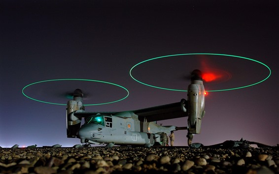 Wallpaper Bell-Boeing V-22 Osprey aircraft, night, light