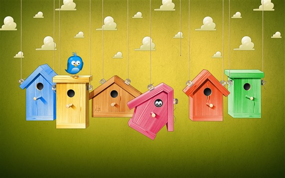 Wallpaper Birdhouse, bird, clouds, creative picture