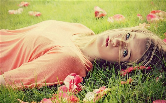 Wallpaper Blonde girl, lying on grass, look