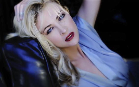 Wallpaper Blonde girl, rest, look, blue eyes