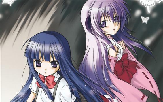 Обои Синие и розовые волосы аниме девушки