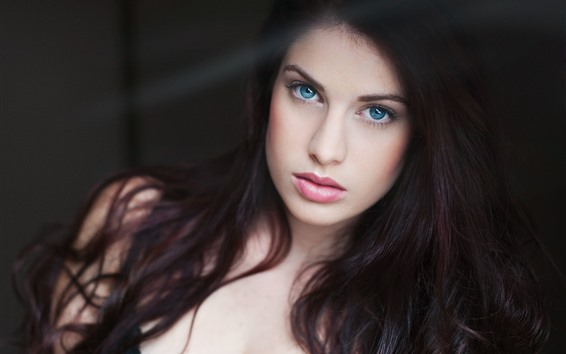 Wallpaper Blue eyes girl, look, face, long hair