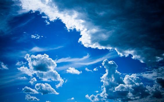Fond d'écran Ciel bleu, nuages blancs, paysages naturels