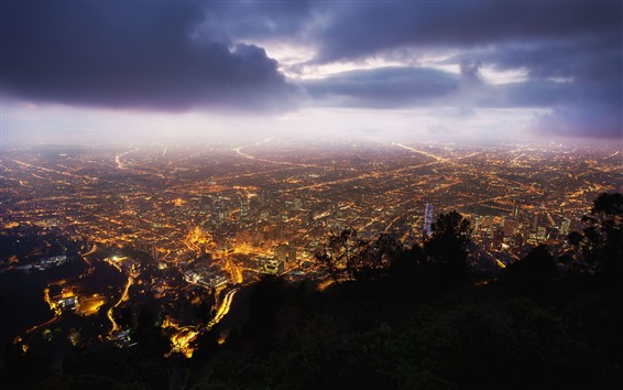 Wallpaper Bogota, Colombia, city night, top view, lights