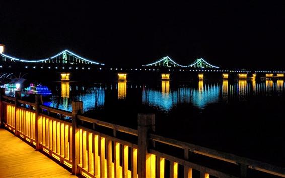 Wallpaper Bridge, river, lights, illumination, night, darkness