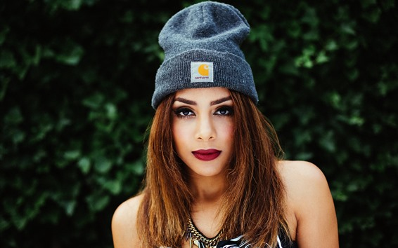 Wallpaper Brown hair girl, hat, face