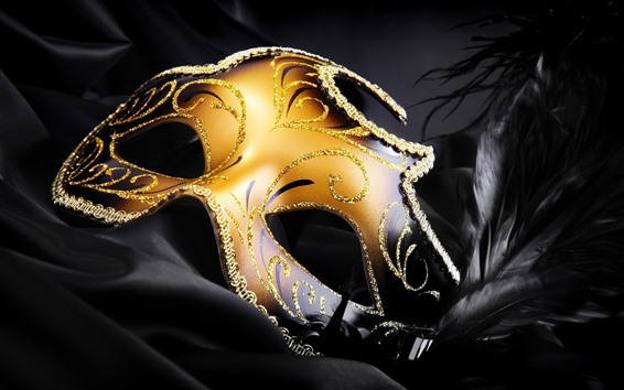 Wallpaper Carnival, golden mask, feather