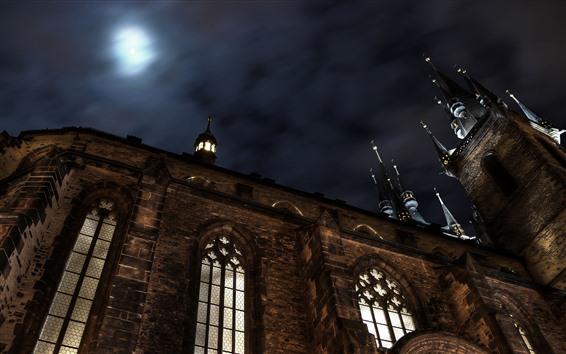Wallpaper Castle, night, moon, sky
