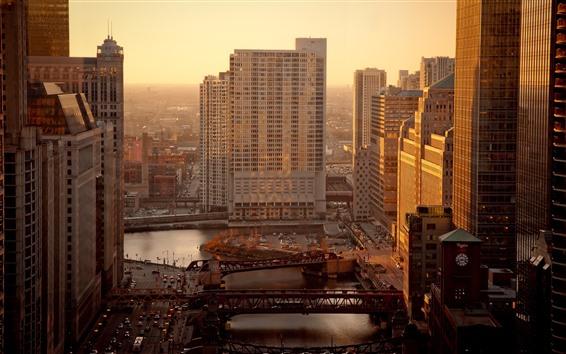 Fondos de pantalla Chicago, ciudad, rascacielos, sol, mañana, EE.UU.