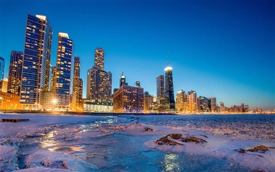 Обои Чикаго, снег, море, побережье, небоскребы, огни, ночь, США