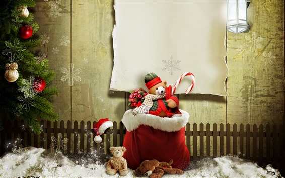 Wallpaper Christmas, teddy bear, gift, snow, fence, creative picture