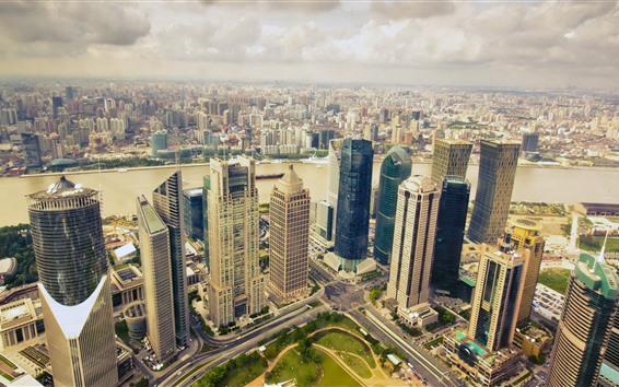 Wallpaper City, skyscrapers, clouds, dusk, river