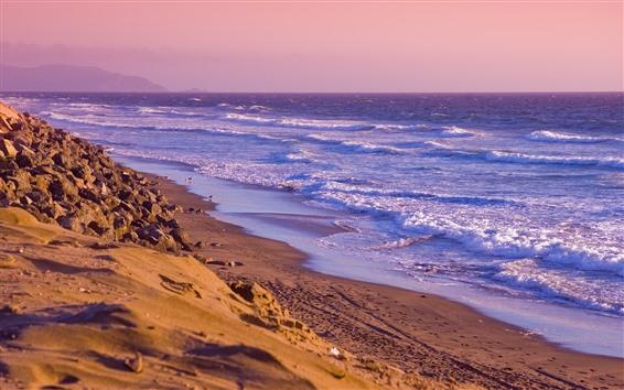 Fond d'écran Côte, plage, mer, vagues, mousse, coucher de soleil