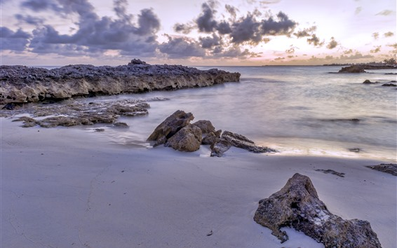 Wallpaper Coast, sea, rocks, beach, clouds, dusk