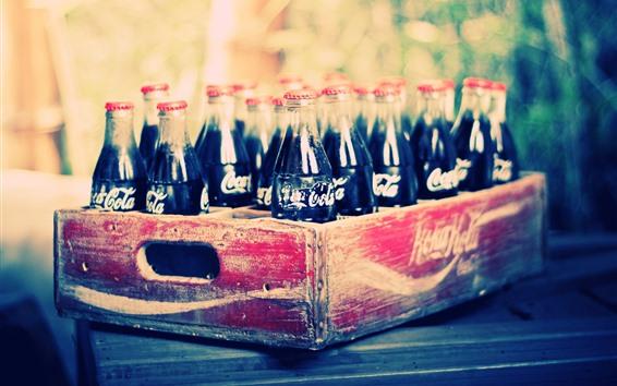 Papéis de Parede Coca-Cola, garrafas, bebidas, caixa