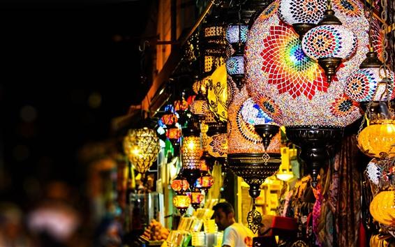 Papéis de Parede Lanternas coloridas, loja, noite, luzes