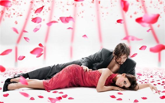 壁紙 カップル、恋人、バラの花びら、ロマンチックな