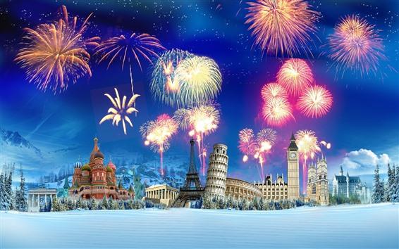 Hintergrundbilder Kreatives Bild, Feuerwerk, berühmte Sehenswürdigkeiten, Schnee