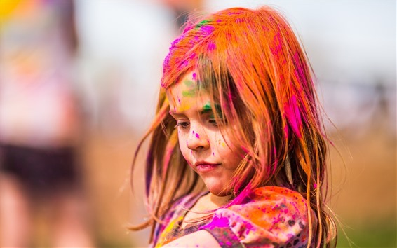 Wallpaper Cute little girl, colorful paint, face, hair