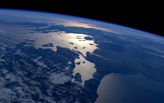 Wallpaper Earth, top view, space, land, sea