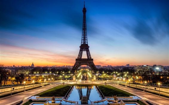 Обои Эйфелева башня, огни, красивая ночь, закат, Париж