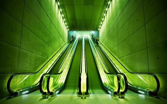 Wallpaper Escalator, lights, green style