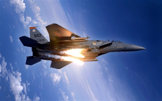 Wallpaper F15 fighter, height, blue sky, clouds, fire