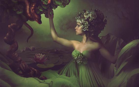 Wallpaper Fantasy girl, green skirt, water lily, pond, snake