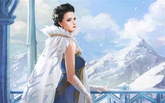 Fond d'écran Fille fantastique, montagne, neige
