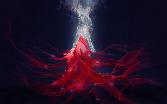 Wallpaper Fantasy girl, red skirt, magic, art picture